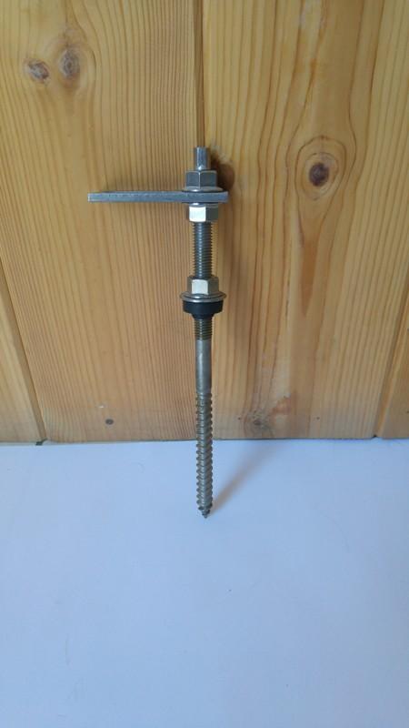 Inox κοχλίας τοποθέτησης σε ξύλινους δοκούς στέγης K2 RF HB BC M 12 x 250 PA
