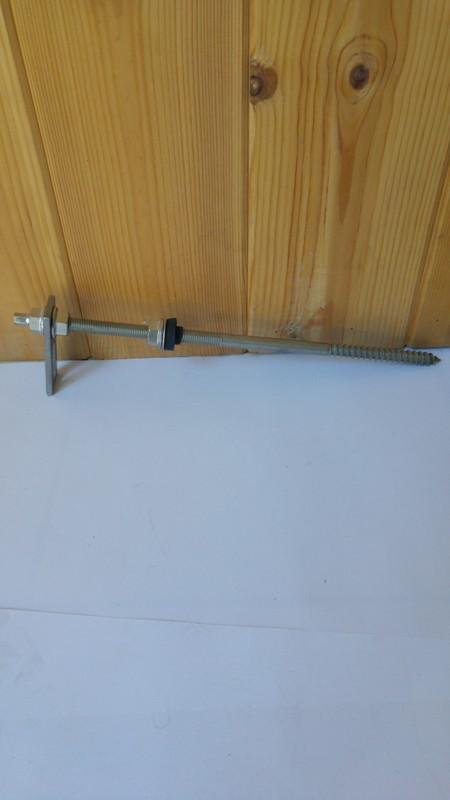 Inox κοχλίας τοποθέτησης σε ξύλινους δοκούς στέγης K2 RF HB BC M 12 x 350 PA