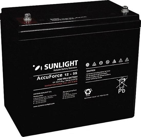 SunLight AccuForce 12V – 55 Ah AGM κλειστού τύπου