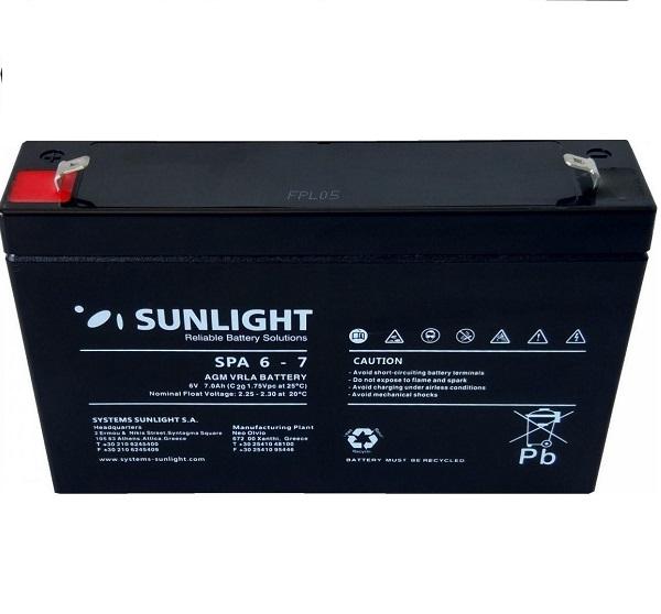 Μπαταρία SunLight SPA 6V-7 Ah AGM κλειστού τύπου