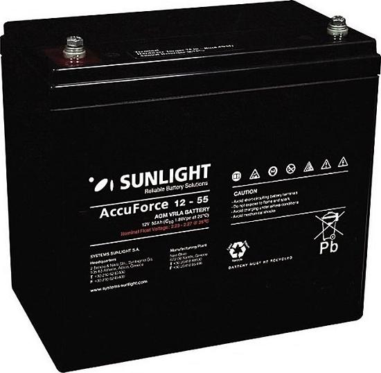 Μπαταρία Φωτοβολταϊκών SunLight AccuForce 12V – 55 Ah  AGM κλειστού τύπου