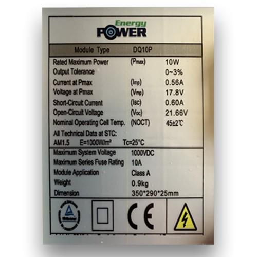 Φωτοβολταϊκό Πάνελ Πολυκρυσταλλικό DQ10p 10W