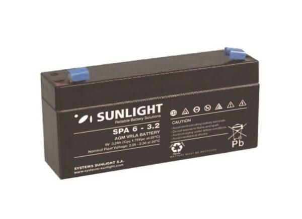 Μπαταρία Sunlight SPA6-3.2 VRLA - AGM τεχνολογίας - 6V 3.2Ah