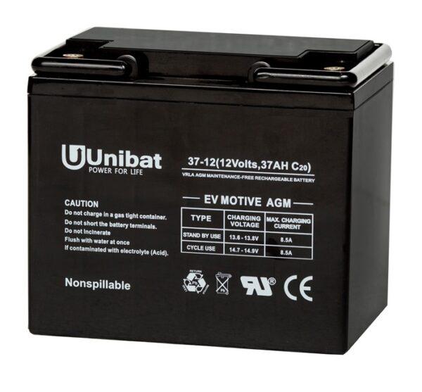 Μπαταρία (AGM-EV MOTIVE) UNIBATPOWER FOR LIFE 12V 37AH