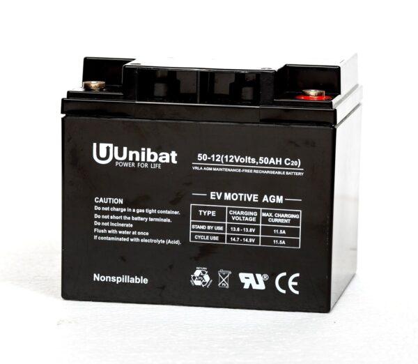 Μπαταρία (AGM-EV MOTIVE) UNIBATPOWER FOR LIFE 12V 50AH