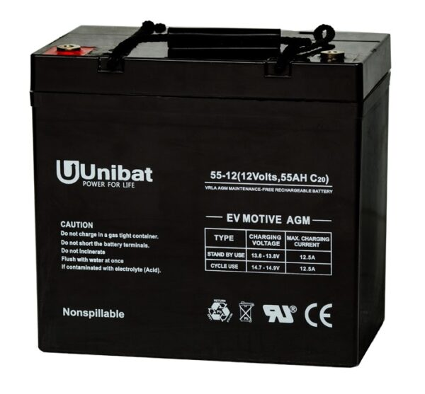 Μπαταρία (AGM-EV MOTIVE) UNIBATPOWER FOR LIFE 12V 55AH