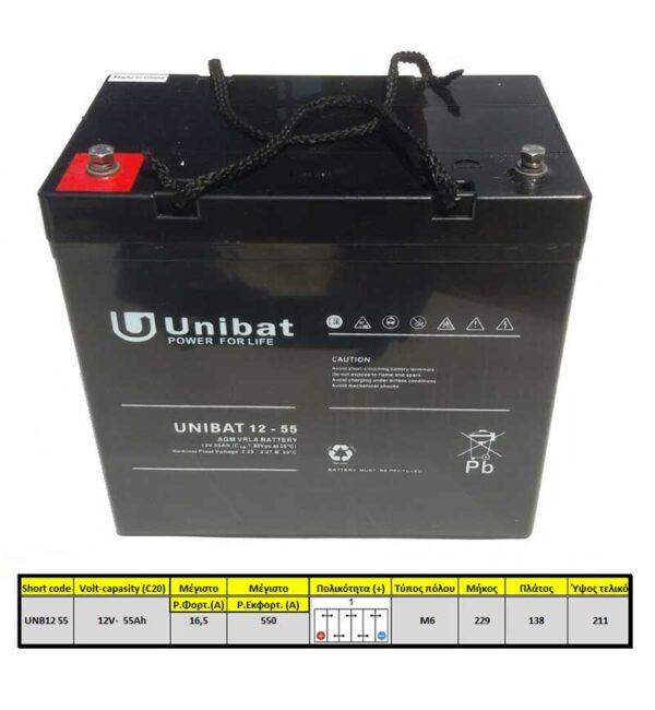ΜΠΑΤΑΡΙΑ (VRLA) UNIBATPOWER FOR LIFE 12V 55AH