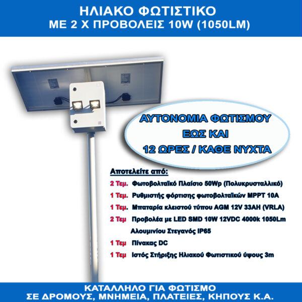 ΗΛΙΑΚΟΣ ΦΩΤΙΣΜΟΣ ΔΡΟΜΟΥ 20W (100Wp/12VDC/33Ah)